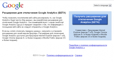 Расширение для отключения Google Analytics