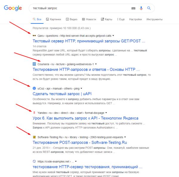 результаты поиска Google
